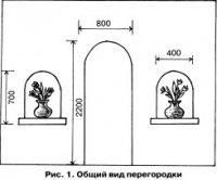 Декоративная перегородка с арочными окошками