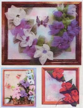 Картины своими руками из цветов из ткани