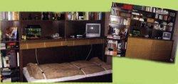 Постель для гостей в книжном шкафу