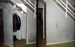 Выдвижной шкаф под лестницей