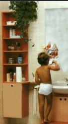 Колонка-стеллаж в ванной