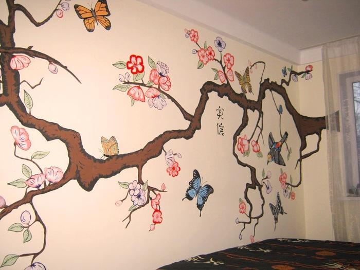 Роспись на стене фото своими руками