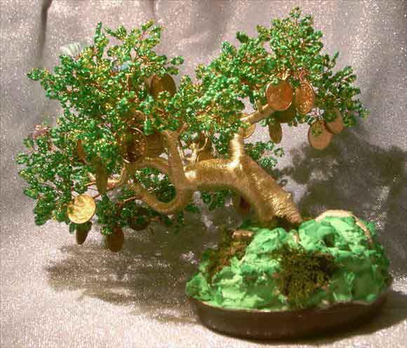 Денежное дерево своими руками из бисера фото