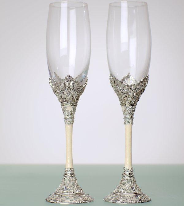как украсить свадебные бокалы