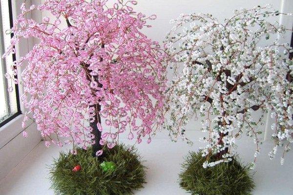 Сакура дерево из бисера мастер класс с пошаговым