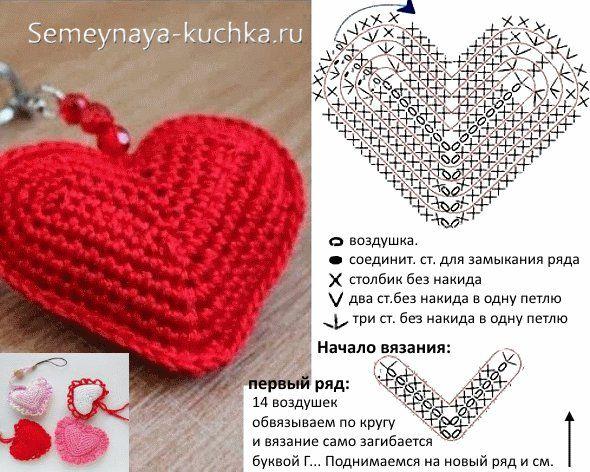 Вязание крючком для начинающих схемы сердечка